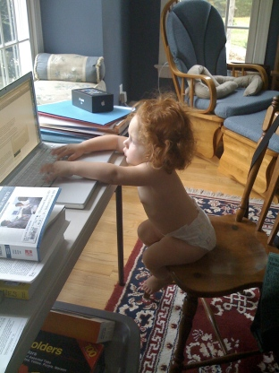 """Establishing good habits with """"devices"""" early! My daughter, age 18 months."""