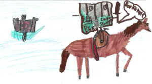 "My daughter's drawing of a ""Knight book."""